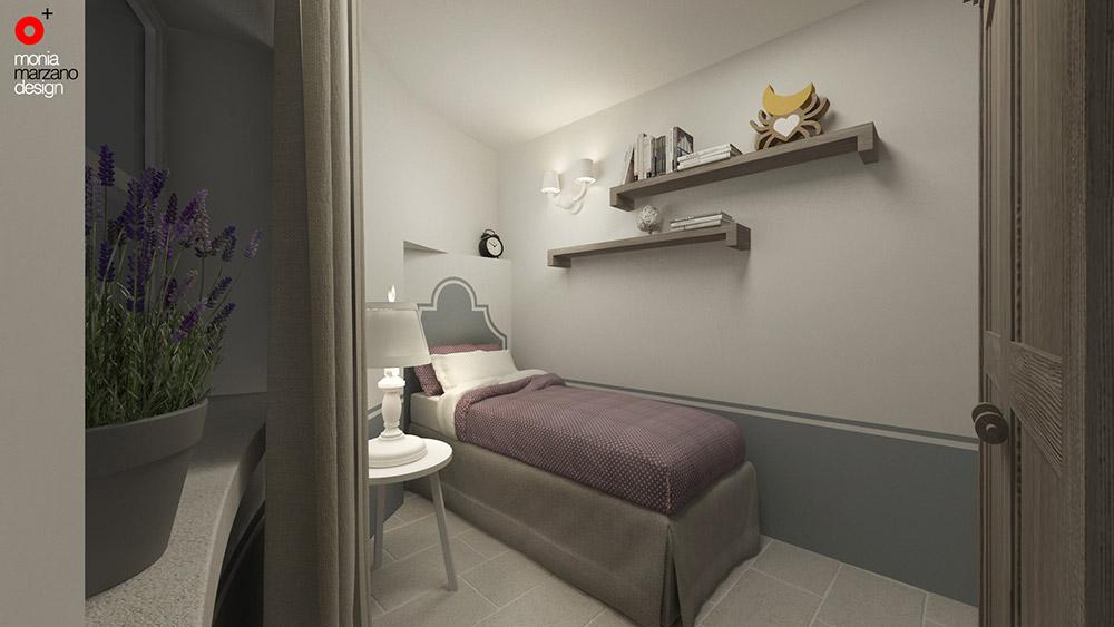 Residenza privata pajara monia marzano - Parete testata letto dipinta ...