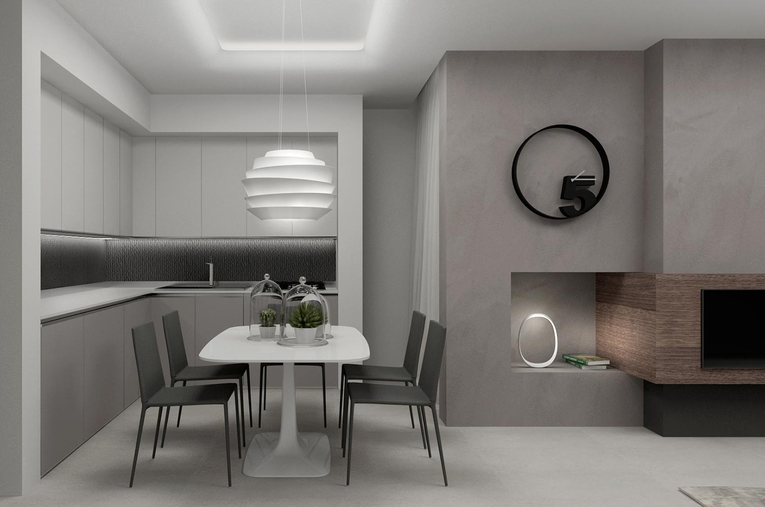 Residenza privata monia marzano for Arredamento bianco e tortora